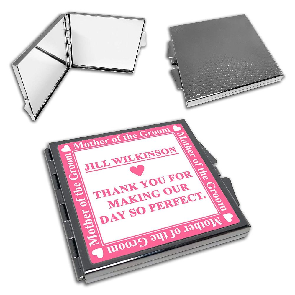 Personalised Mother of The Groom Wedding Cute Square Compact Mirror